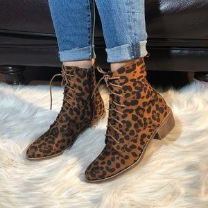 Shoes - FAUX SUEDE LEOPARD PRINT BOOTS
